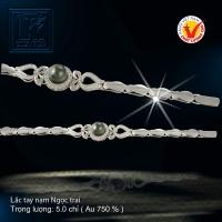 Lắc tay nạm Ngọc trai vàng 18 K