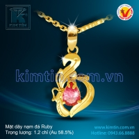Mặt dây vàng 14k nạm đá Ruby