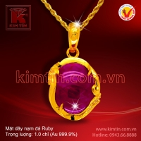 Mặt dây vàng 24k nạm đá Ruby