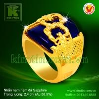Nhẫn nam 14k nạm đá Sapphire